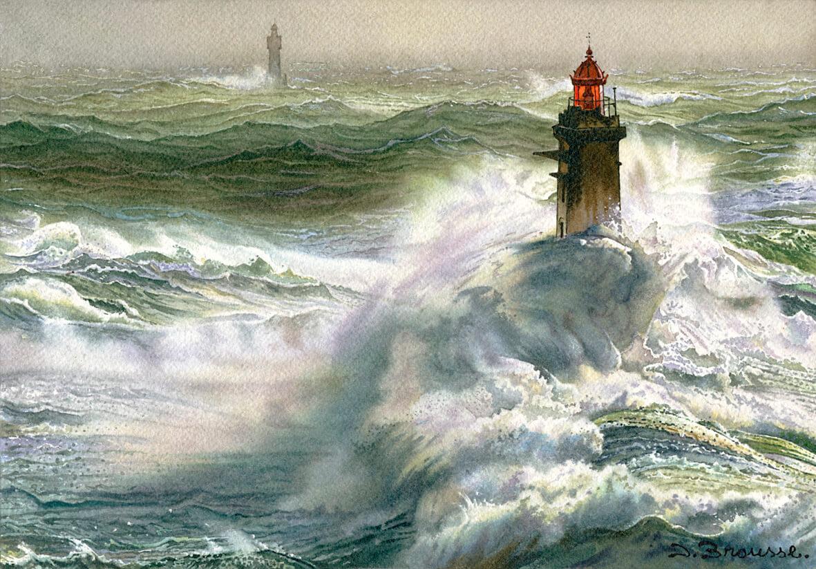 Tempête au phare de la Jument