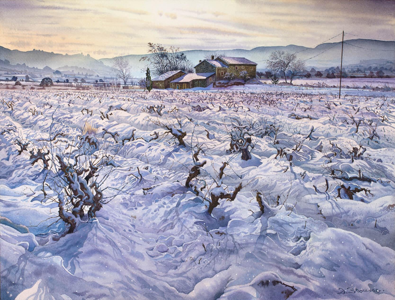 Bonnieux, neige à contre-jour
